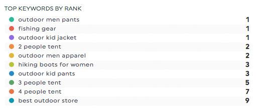 top keywords rank ginzametrics reports